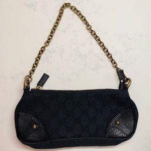 Gucci Black Canvas Monogram Bag